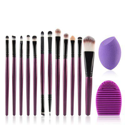 Stylish 12 Pcs Nylon Face Eye Lip Makeup Brushes Set + Beauty Blender + Brush Egg