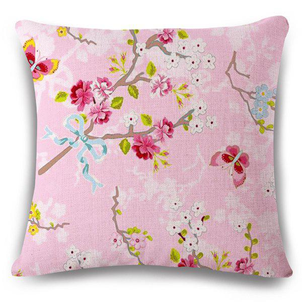 Fresh Style Pink Underpainting Blossom Butterfly Design Pillow Case
