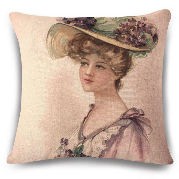 Retro Style Elegant Lady with Floral Hat Painting Design Flax Pillow Case