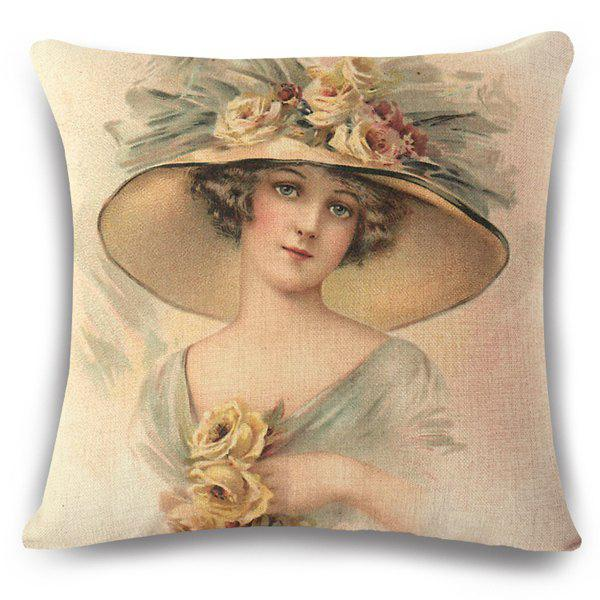 Vintage Style Elegant Princess with Flower Hat Painting Pattern Flax Pillow Case