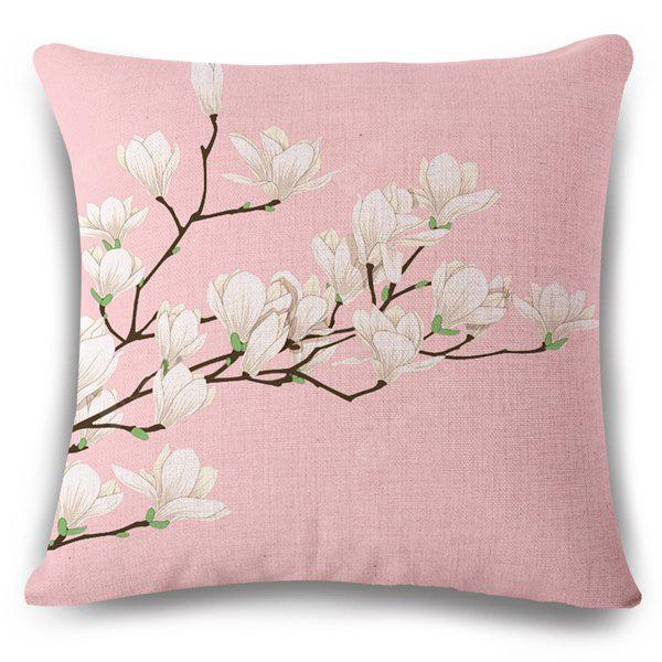 Simple Style Flax Pink Underpainting White Flower Pattern Pillow Case