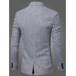 Buy Fashion Striped Notched Lapel Collar Single Button Slim Fit Blazer Men L LIGHT GRAY