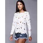 Hollow Out Pure Color Lace Tee - WHITE