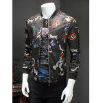 cheap Chic Butterflies Print Baseball Collar Long Sleeve Camo Bomber Jacket For Men