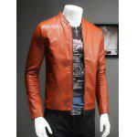 Pure Color Stand Collar Long Sleeve Leather Jacket For Men - ORANGE