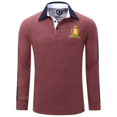 Embroidered Turn Down Collar Long Sleeve Polo Shirt For Men