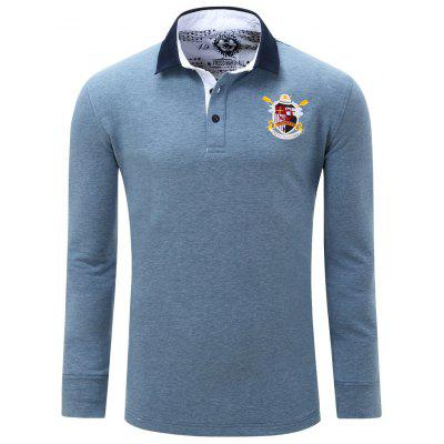 Embroidered Patch Turn Down Collar Long Sleeve Polo Shirt For Men