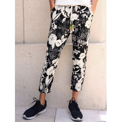 Lace-Up Floral Print Nine Minutes of Pants For Men