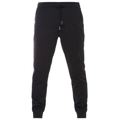 Casual Drawstring Waistband Ribbed Hem Black Jogger Pants For Men