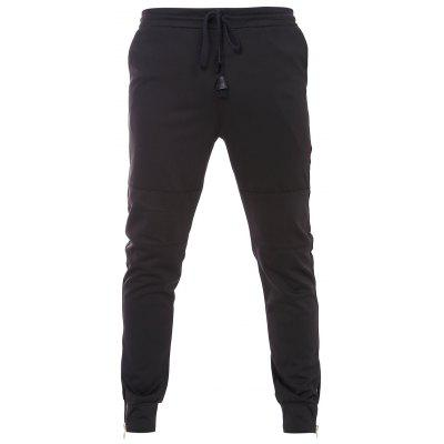 Fashion Bottom Zipper Design Drawstring Waistband Black Jogger Pants For Men