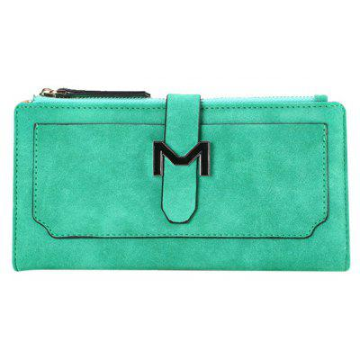 Stylish Metal and Solid Color Design Wallet For Women