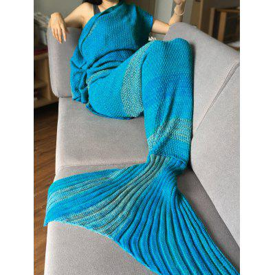 Crochet Stripe Pattern Mermaid Tail Shape Blanket