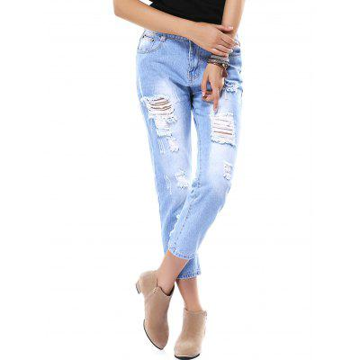 Fashionable Ripped Capri Denim Pants For Women