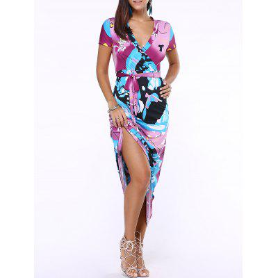 Plunging Neck Print Belted Maxi Dress