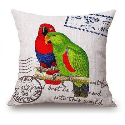 Vintage Style Pair Parrot on Branch Pattern Letter Stamp Pillow Case