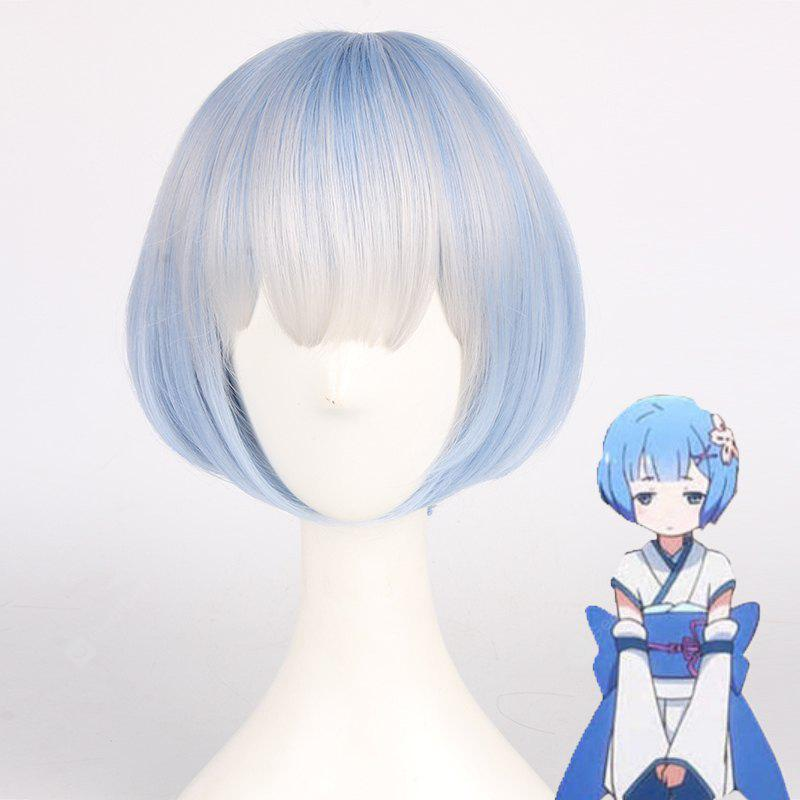 Fashion Gray Ombre Water Blue Bob Style Straight Short Syntheic Ram Young Cosplay Wig