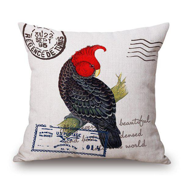 Retro Style Postmark Parrot on Branch and Letter Pattern Pillow Case
