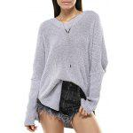 Casual Long Sleeve V-Neck Solid Color Sweater - GRAY