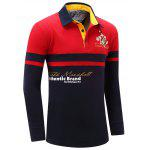 Letter Snowflake Print Embroidered Patch Color Splicing T-Shirt For Men - RED