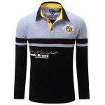 Letter Snowflake Print Embroidered Patch Color Splicing T-Shirt For Men - GRAY