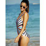 Rainbow Stripe Hollow Out Backless One-Piece Swimsuit - COLORMIX