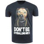 Cotton Blends 3D Dog and Letters Print Round Neck Short Sleeve T-Shirt - BLACK