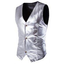 Metallic Spliced Single Breasted Vest For Men