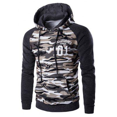 Kangaroo Pocket Camo Long Sleeve Hoodie For Men