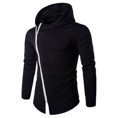 Izzumi Diagonal Zipper Design Long Sleeve Hoodies