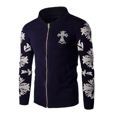 Cross Floral Pattern Zip Up Long Sleeve Cardigan For Men