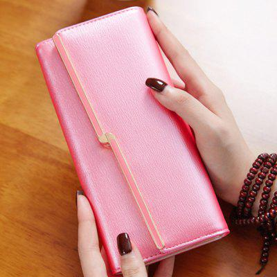 Stylish Metal and Solid Colour Design Wallet For Women