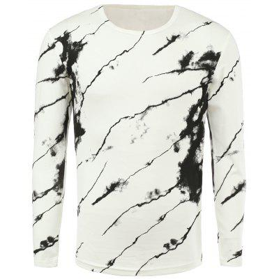 3D Ink Print Round Neck Long Sleeve T-Shirt For Men