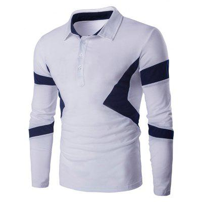 Turn Down Collar Color Spliced Long Sleeve Polo Shirt