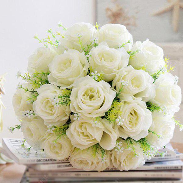 Charming 1 Bouquet 18 Head Home Wedding Decoration Artificial Rose
