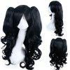 Fashion Black Long Wavy Side Bang with Bunches Lolita Synthetic Wig - BLACK