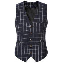 Buckle Back Plaid Single Breasted Vest For Men