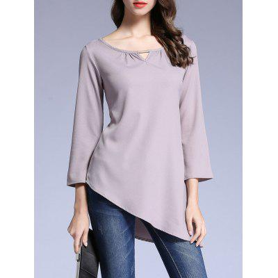 Pure Color Asymmetrical T-Shirt