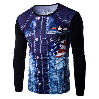 Buy BLACK Round Neck 3D Eagle Flag Printing Long Sleeves T-Shirt For Men for $11.59 in GearBest store