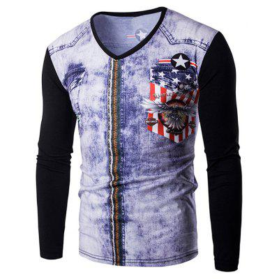 3D Zipper Printing V-Neck Long Sleeves T-Shirt For Men