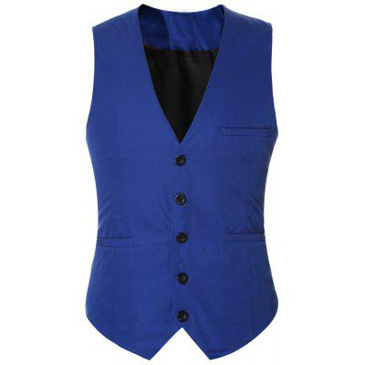 Buckle Back Solid Color Single Breasted Vest