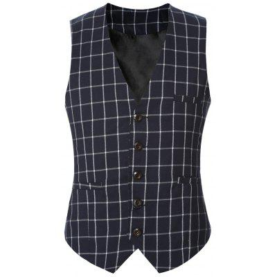 Buckle Back Plaid Single Breasted Vest
