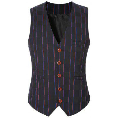 Striped Plaid Buckle Back Single Breasted Vest