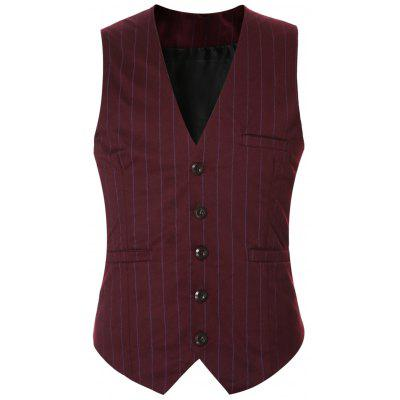 Striped Buckle Back Single Breasted Vest