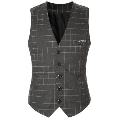 Plaid Buckle Back Single Breasted Vest