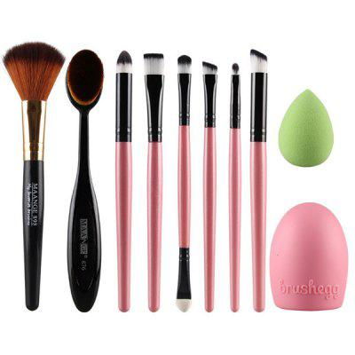 Stylish 6 Pcs Eye Makeup Brushes Set + Blush Brush + Foundation Brush + Brush Egg + Makeup Sponge