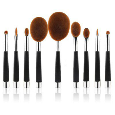Stylish 9 Pcs Multifunction Golf Clubs Shape Nylon Makeup Brushes Set