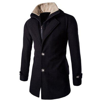 Buy BLACK L Faux Twinset Double Top Fly Fur Collar Long Sleeves Coat For Men for $32.51 in GearBest store