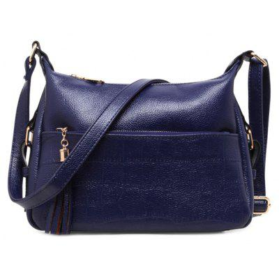 Buy DEEP BLUE Stylish Solid Colour and Tassels Design Shoulder Bag For Women for $30.00 in GearBest store