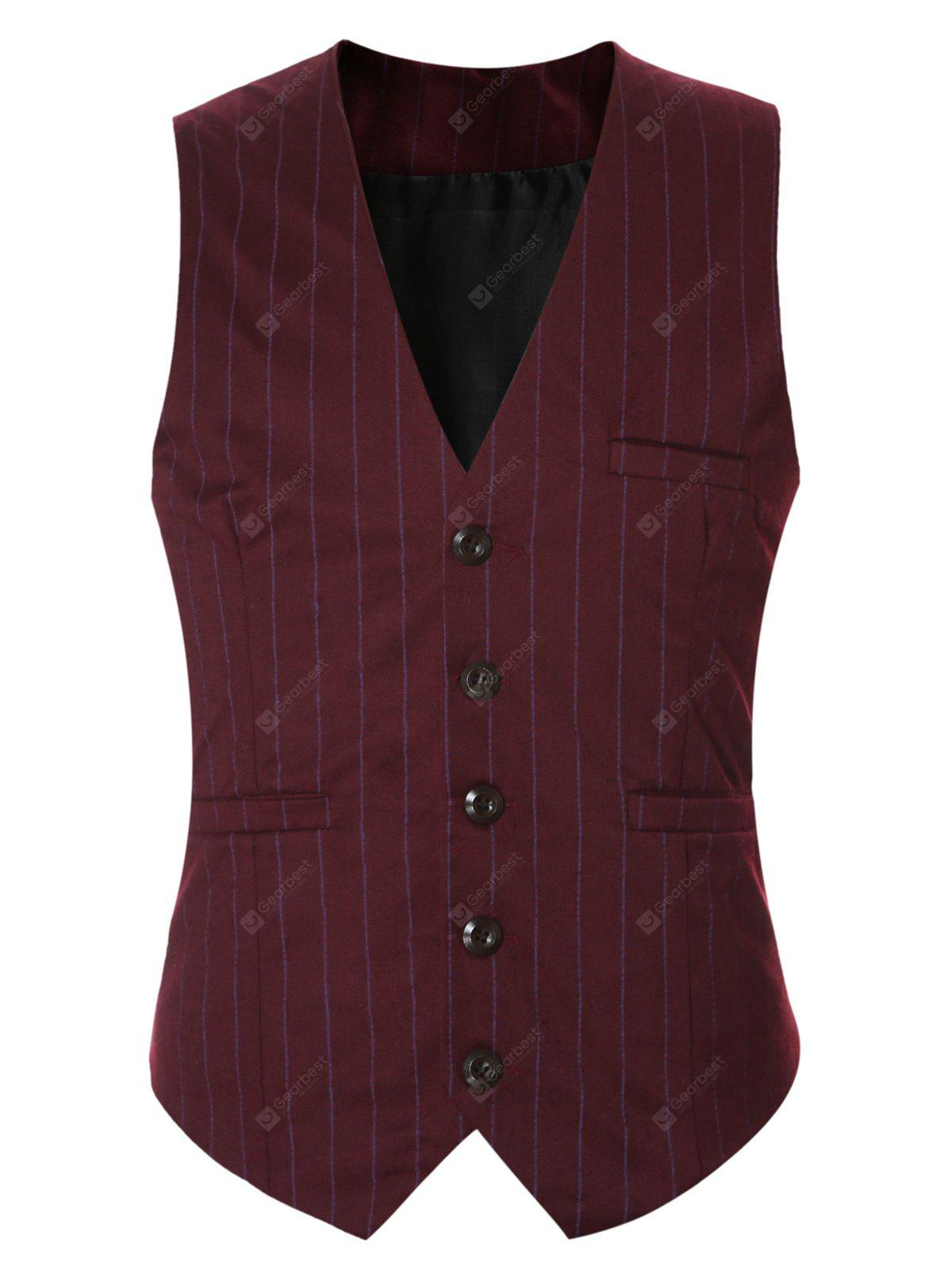 Striped Buckle Back Single Breasted Vest For Men