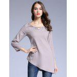 Pure Color Asymmetrical T-Shirt - GRAY